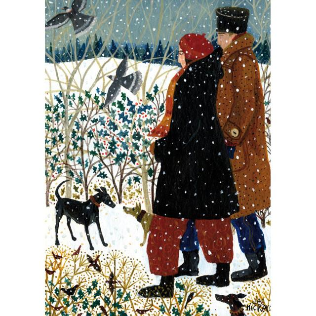 Cards Christmas Green Pebble Dn02612 Winter Walk With Dogs
