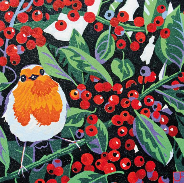 Cards Christmas Green Pebble Jh1 09 18 Robin And Berries