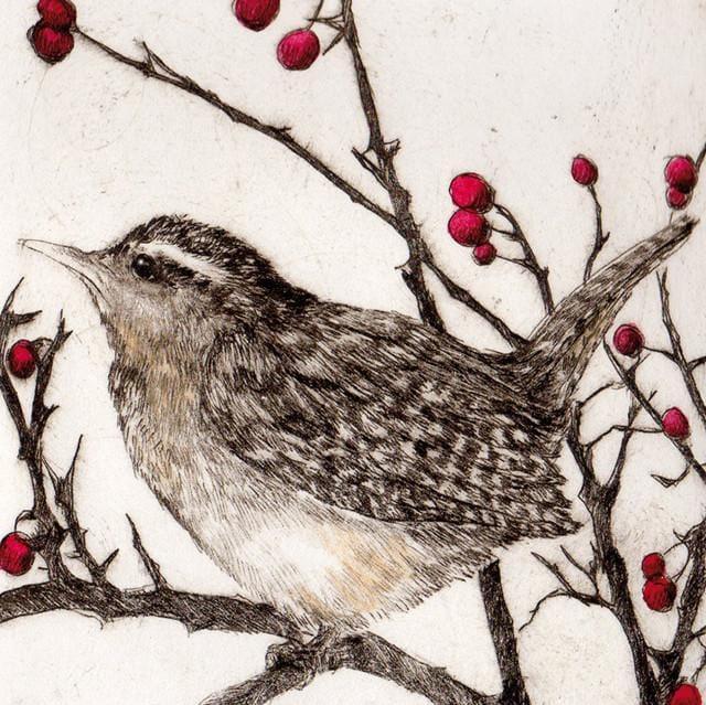 Cards Christmas Green Pebble Sb0 11 16 Wren In Winter