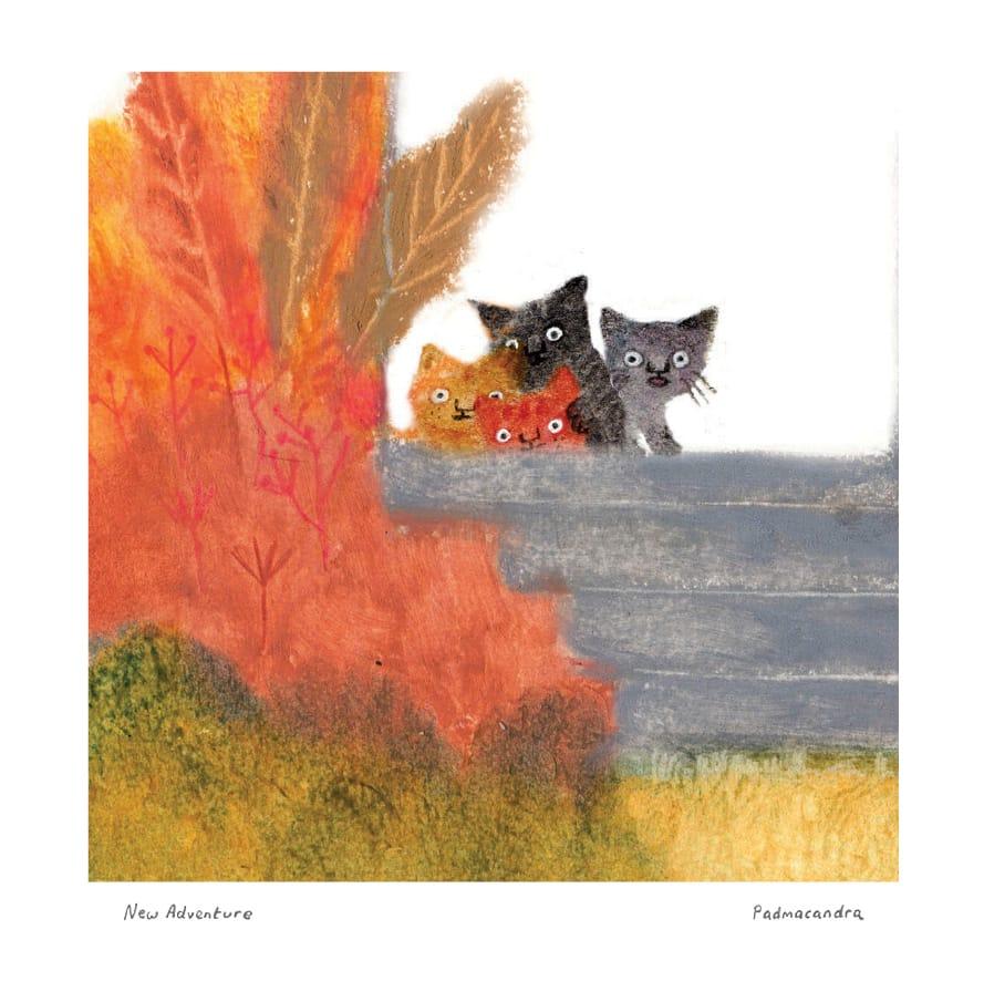 Padmacandra New Adventure Kittens Pad1 Mistletoe Card