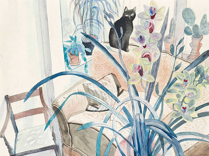 Sg252 Edward Bawden Cat And An Orchid Card