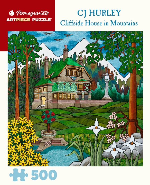 Cj Hurley Cliffside House In Mountains 500 Piece Jigsaw Puzzle