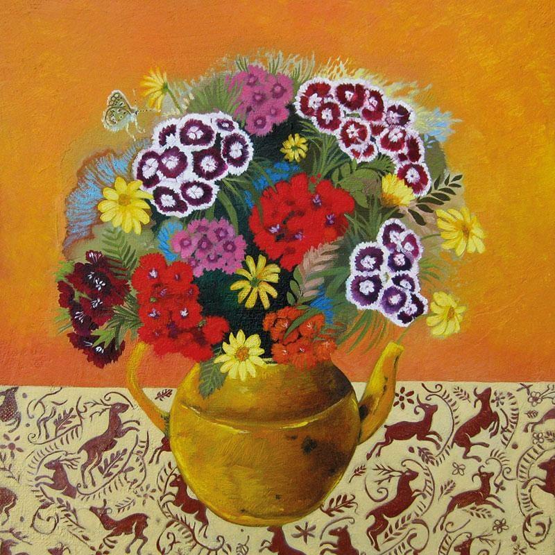 Lem025 Sweet Williams In A Yellow Teapot