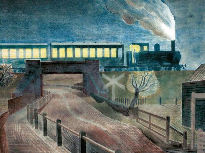 Sg236 Eric Ravilious Train Going Over A Bridge At Night Card